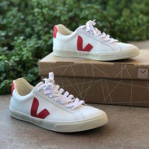 Veja Esplar Red Low Logo Leather Sneakers